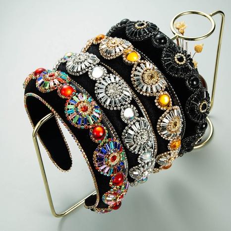 nouveau bandeau de flanelle de fleur de strass de mode de style baroque NHLN351327's discount tags