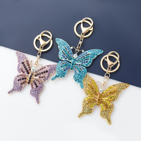 Porte-clés papillon diamant en alliage exagéré de mode NHJE351342's discount tags