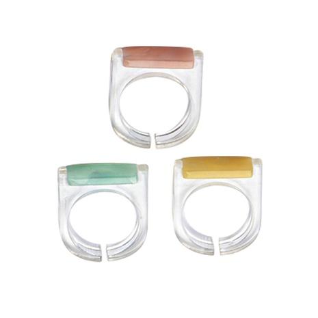 nouveau ensemble de bagues trois pièces en résine acrylique de style de mode NHJJ351374's discount tags