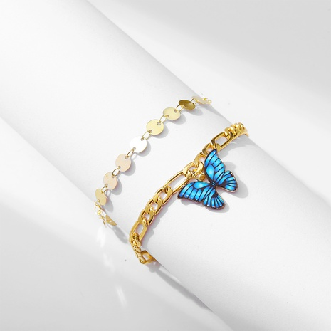 Golden butterfly anklet retro alloy double butterfly anklet  NHPJ351391's discount tags