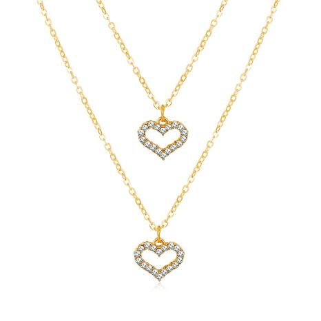 nouveau collier double d'amour simple en strass incrusté d'or NHPJ351401's discount tags