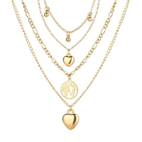 nouveau collier à quatre couches de pendentif de carte d'amour de goutte d'eau créative de mode multicouche NHPJ351403's discount tags