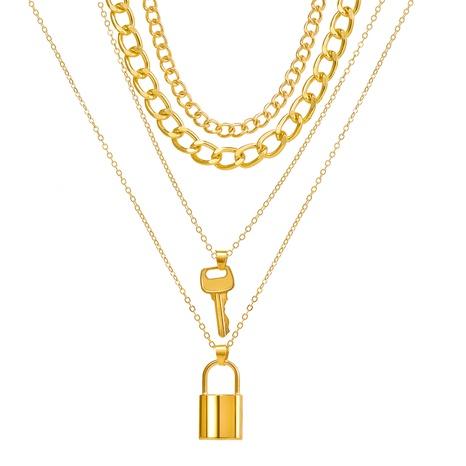 nouveau collier à quatre couches avec pendentif à clé créative de style de mode NHPJ351404's discount tags