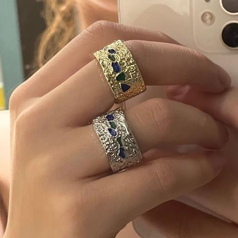Modestil einfache unregelmäßige Textur blaue Diamanten offener Ring NHYQ351412's discount tags