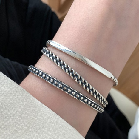 Bracelet ouvert simple corée rétro en argent sterling 925 NHLON351540's discount tags