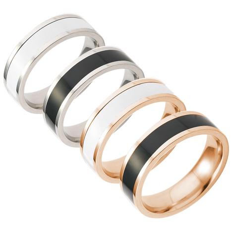 anneau de couple en acier au titane noir et blanc dégoulinant de mode NHSOM351634's discount tags