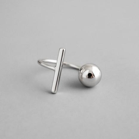 Bague à perles rondes en argent sterling S925 NHLON351650's discount tags