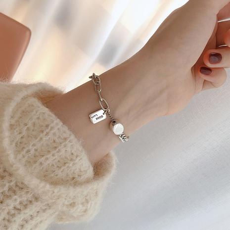 bracelet à étiquette géométrique en argent sterling S925 NHLON351717's discount tags