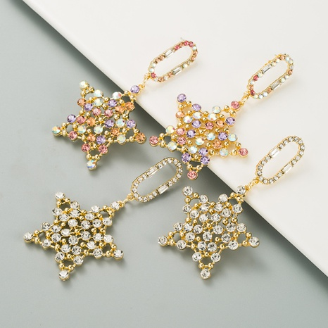 Boucles d'oreilles pendantes en strass incrusté de star de la mode coréenne NHLN351735's discount tags