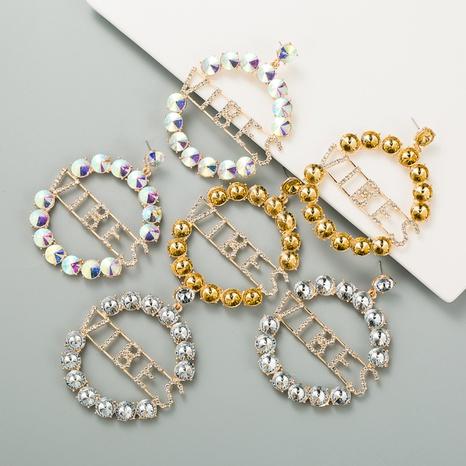 Boucles d'oreilles en strass flash en alliage de pendentif lettre anglaise creuse ronde de mode NHLN351736's discount tags