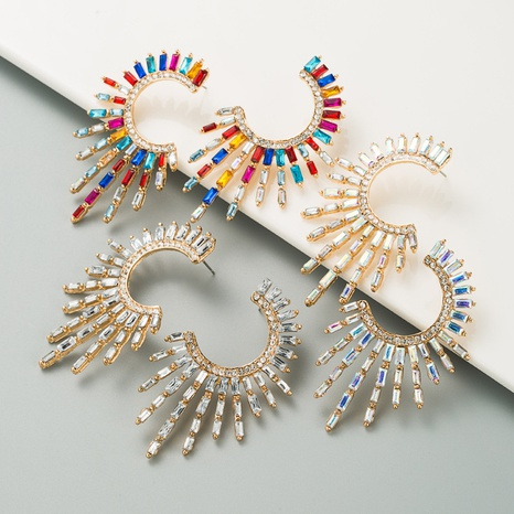 Boucles d'oreilles diamantées en alliage de demi-tournesol de style ethnique NHLN351739's discount tags