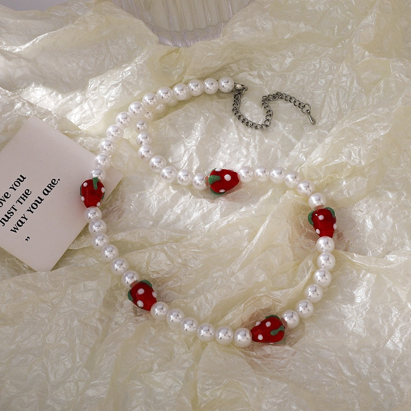fashion strawberry pearl chain necklace wholesale  NHMS352049