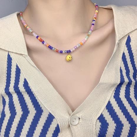 Mode Smiley Gesicht bunte Perlenkette NHMS352054's discount tags