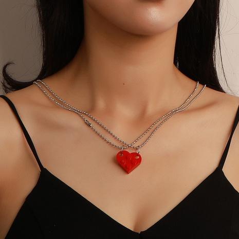 nouveau collier de couple de blocs de construction en forme de coeur de style de mode NHDP352088's discount tags