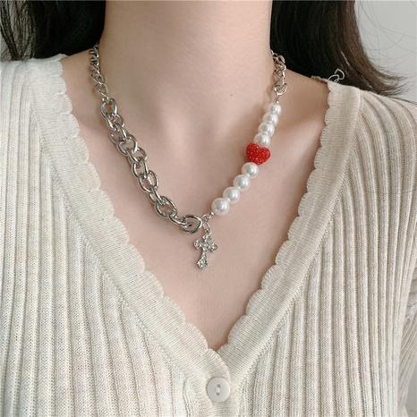 collier de perles d'amour rouge croix simple de style nouveau NHYQ352104's discount tags