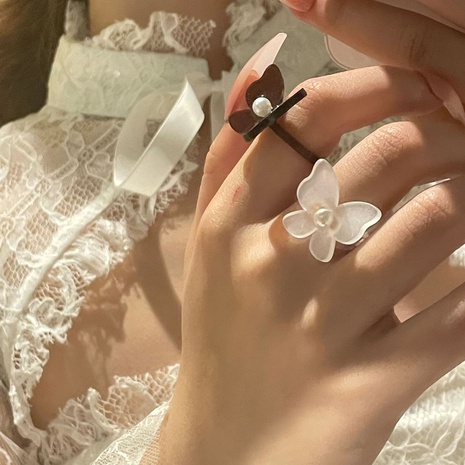fashion three-dimensional butterfly pearl acrylic ring NHYQ352113's discount tags