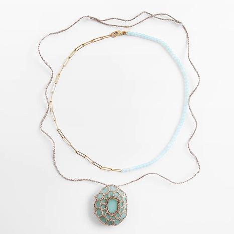 mode nouveau style long collier de perles de riz en résine multicouche tissée NHLA352137's discount tags