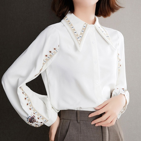 fashion retro style new lapel long sleeve shirt NHUO352354's discount tags