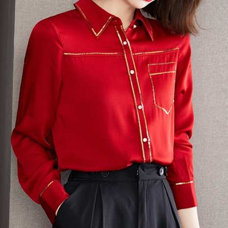 fashion new style solid color long-sleeved lapel shirt NHUO352353's discount tags