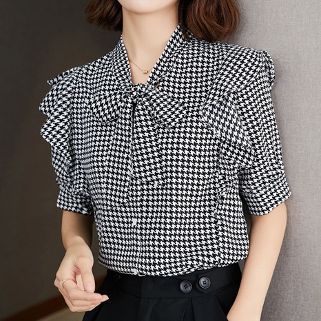 summer fashion style new loose bow ribbon shirt NHUO352352's discount tags