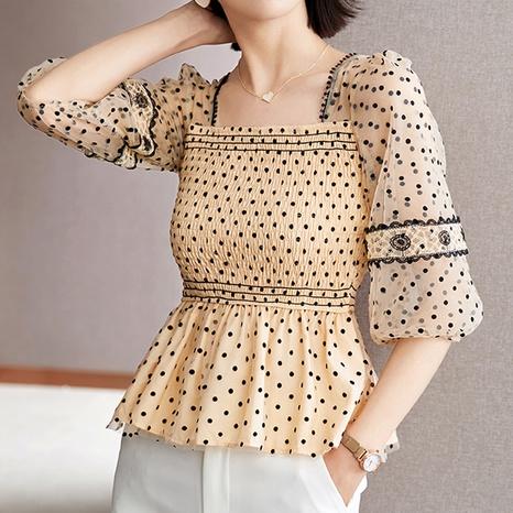 fashion square neck polka dot printed gauze chiffon shirt NHUO352351's discount tags