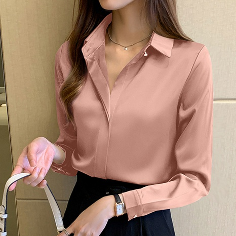 new fashion long-sleeved lapel solid color wild chiffon shirt NHUO352346's discount tags