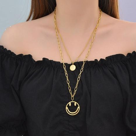 hohle Smiley-Gesicht Edelstahl runde Buchstaben doppelschichtige Halskette NHHF351917's discount tags