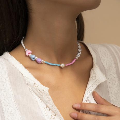 style ethnique couleur perles de riz coeur pêche lettres géométriques collier de cou acrylique NHXR352242's discount tags