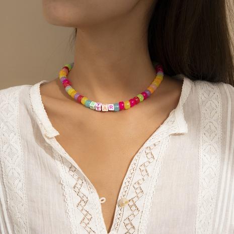 Collier de perles de perles de riz en acrylique de couleur créative bohème NHXR352245's discount tags