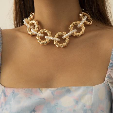 Collier géométrique CCB exagéré de chaîne épaisse de perle d'imitation de style rétro NHXR352254's discount tags