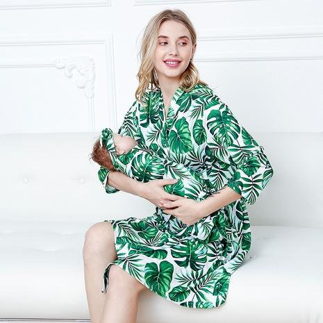 mode nouveau style feuille verte mère chemise de nuit bébé emmailloter couverture wrap trois pièces costume NHWO352272's discount tags