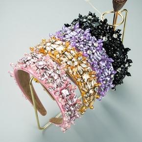 Mode handgenähtes Kristallglas Diamant Stirnband NHLN352276