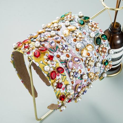 Bandeau imprimé baroque en tissu strass coiffe de perles NHLN352280's discount tags