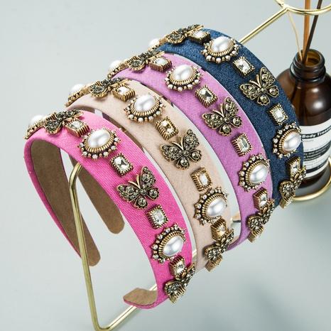 Serre-tête en perles de diamant baroque papillon NHLN352281's discount tags