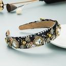 Barock bedruckte Stoff Perle Strass Stirnband Legierung Biene Blume breite Krempe Haarschmuck NHLN352283