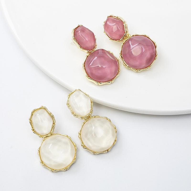 Retro resin acrylic geometric irregular pendant earrings NHQIY352285