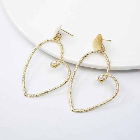 Boucles d'oreilles en or en forme de cœur avec perles de vent froid en gros NHQIY352287's discount tags