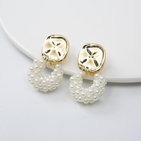 Boucles d'oreilles cercle métal aiguille argent perle coréenne NHQIY352290's discount tags
