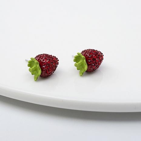 Boucles d'oreilles mini fraises en alliage doux de Corée NHQIY352291's discount tags