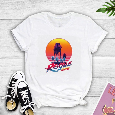fashion style new Romantic sunset landscape painting print T-shirt NHZN352319's discount tags