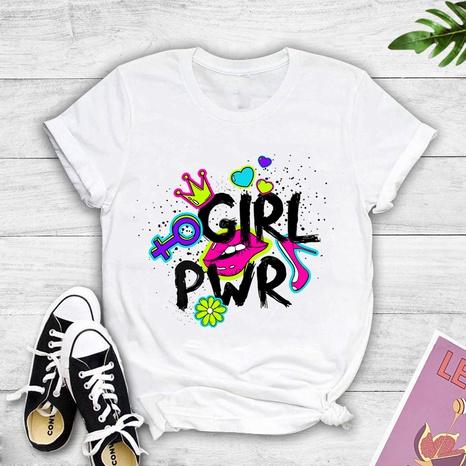 Colorblock graffiti girl pwr print short-sleeved T-shirt NHZN352315's discount tags