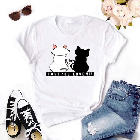 Cartoon fashion tyle cat high definition print short-sleeved T-shirt NHZN352309's discount tags