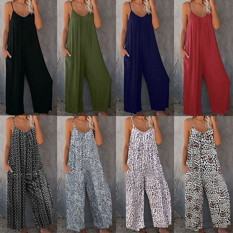 summer new leopard print sling wide loose leg jumpsuit NHIS352299's discount tags