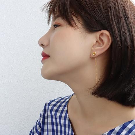 boucles d'oreilles simples en acier titane petit coeur pêche NHOK352074's discount tags