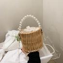 simple pearl handle woven handbag wholesale  NHJZ352399