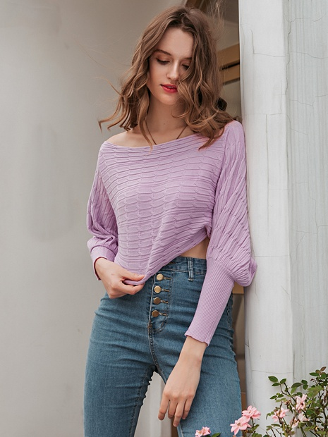 fashion purple round neck long sleeve blouse NHDE352648's discount tags