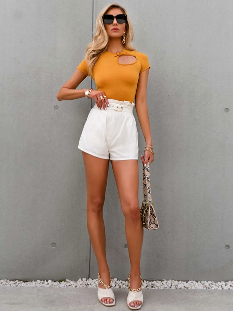 fashion high waist solid color slimming shorts  NHDE352653's discount tags