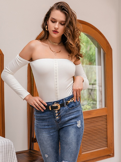 fashion sexy off-shoulder long sleeve wrap chest tops NHDE352655's discount tags