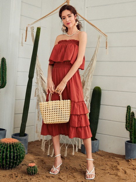 fashion solid color tube top ruffle dress NHDE352656's discount tags