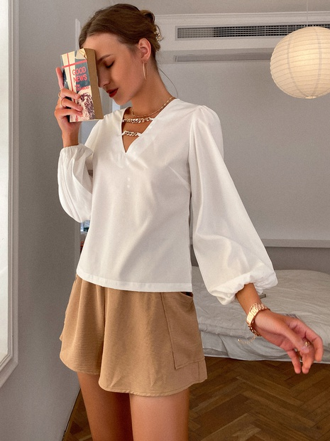 fashion v-neck long sleeve solid color tops NHDE352657's discount tags